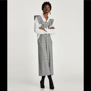 NWOT Zara Check Plaid Ruffled Overall